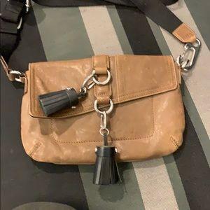 LAMB Tan crossbody leather bag with tassels